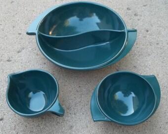 Vintage Dk Green Boonton Divided Serving Bowl and Creamer & Sugar Bowl...EUC