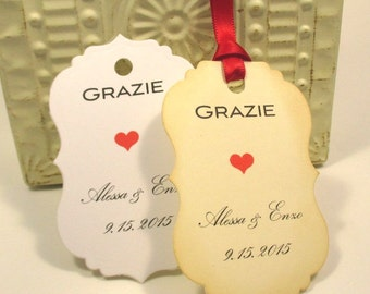 Wedding Favor Tags -  Favors - Personalized - Grazie - Italian Wedding - Unique - Set of 20