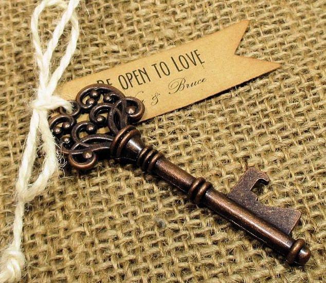 key bottle opener rustic wedding favor set of 10. Black Bedroom Furniture Sets. Home Design Ideas