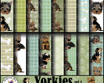 Yorkies set 1 - digital scrapbooking papers [INSTANT DOWNLOAD]