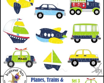Planes, Trains & Automobiles Oh MY! Set 3 - digital graphics set of 9 png files in Blue Green Yellow {Instant Download}