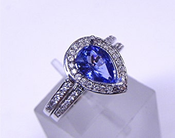 AAA Blue Ceylon Sapphire   1.21 Carats   in 14K White gold Bridal set .40cts of diamonds. 1614