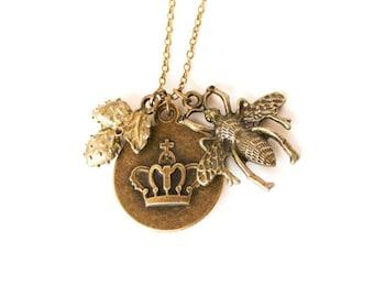 Queen bee crown strawberry antique bronze charm necklace