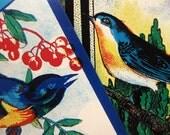 Vintage Large, Brilliant Blue, Bird Broom Handle Labels (2) - Altered Book, Collage, Scrapbooking, Supplies