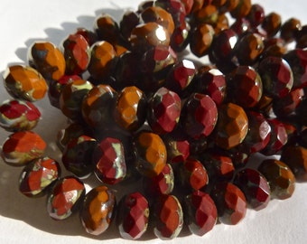 Czech Opaque Chestnut with Picasso 8x6mm Faceted Fire Polished Glass Rondelle Beads (25) 0641-P