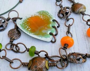 Sweet Love Enameled Heart Necklace