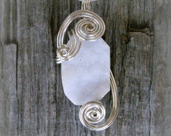Crystal Quartz Geode Wire Wrapped Pendant.  White Druzy Necklace in Silver