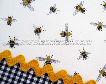 HONEY BEE Cotton Quilt Fabric Yellow WHITE by the Yard, Half Yard, or Fat Quarter Fq Bumblebees Honeybee Beekeeping