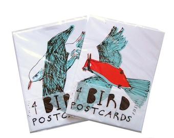 Screenprinted bird postcards