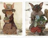 Rabbit Portrait Pair Print Set, 8x10, Bunny, Steampunk, Art, Dragonfly, Easter, Victorian, Gadget, Goggles, Decor, Children Art, Dragon, Egg