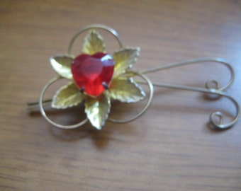 Fanciful Goldtone Flower Brooch with Red Heart Center