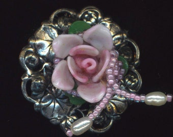 Porcelain Ring . Beaded . Pink Rose Floral Ring . Genuine Pearls . Silver Plated Base - Ring around the Roses by enchantedbeads on Etsy