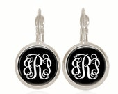 Monogram Earring, Glass Dome Earrings, Leverback Earrings, Interlocking Font, Gift For Her, Gift Under 10, Drop Earrings (White On Black)