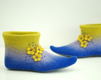 Felted slippers Alice in blue purple yellow with flowers CUSTOM MADE any colors and sizes