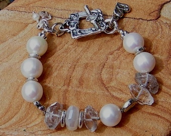 Artisan Jewelry Freshwater Pearl, Herkimer Diamond, Pearl Chalcedony Handcrafted Artisan Sterling Silver Bracelet