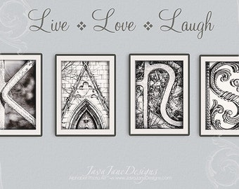 5x7 Alphabet Letter Print - Choose Your Own - Black and White Photo