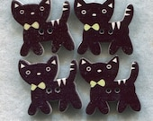 Black Cat Wood Buttons Decorated Wooden Buttons 23mm (1 inch) Set of 4 /BT234B