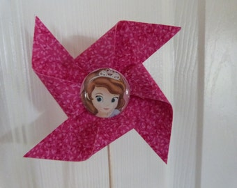 Sofia The First  Pinwheel Cupcake Flags - 12 Fabric  Cake Toppers, use for a Birthday or party