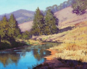IMPRESSIONIST PAINTING River Painting Landscape Painting by G Gercken