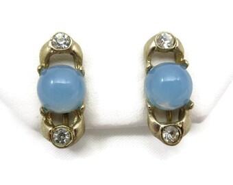 Blue Opaline Lucite Earrings - Screwback Rhinestone Accent