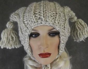 Hand Knit Hat,Accessory,Women,Hats,Tweed Hat, Beige Hat,Winter Hat, Ear Flap Hat,Children,