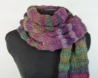 "Fluffy Soft Knit Scarf; Multicolored Shawl - ""The Vineyard Celebration"" Scarf - Item 1439"