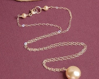 Small Coin Pearl Drop Necklace, Swarovski Ivory 12mm Pearl in Sterling Silver, Bridesmaid Necklace, Bride Necklace, Single Pearl Necklace
