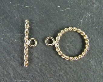Gold Filled Twisted Toggle and Bar Fastener 11mm (CG5962)
