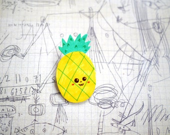Silly Pineapple - hand drawn brooch