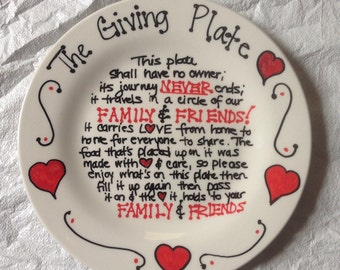 The Give Plate Hand Painted Plate Ceramic Plate Hearts Plate Serving Plate