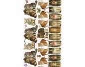Self Adhesive Sweet Kittens Cats Stickers 1 Sheet Colorful Scrapbooking Stickers  Number 58