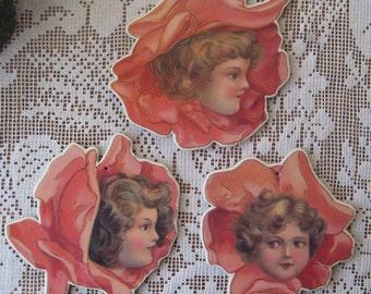 3 Vintage Die Cut Cardboard Rose Angels Gold Stamped Ornaments Decorations