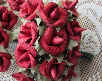 Paper Millinery Flowers 24 Handmade Red Blossoms