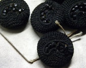 Reserved for Angela Amazing Set 8 French Victorian PAISLEY Crochet PASSEMENTERIE Jet Beaded BUTTONS Unused on Original Card! Steampunk