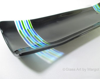 Fused Glass Platter Channel Tray Black Blues and Green