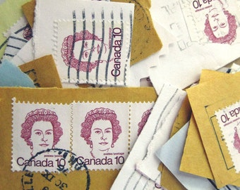 100 vintage postage stamps 10cent red Queen Elizabeth stamp from Canada 1976 envelope cut for your art projects