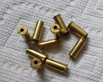 Bullet shell casing earrings or pendants, 10 gold / brass .22 caliber Shell Casings, Pre-drilled for your jewelry needs..Lot 66