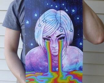 11x17 Large Digital Art Print - Original Anime Style Art - Cry Me a Rainbow - Ready to Ship