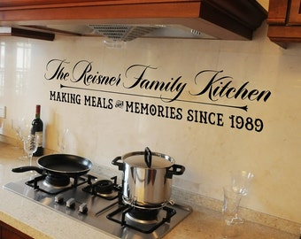 Family Name Kitchen Wall Decal Personalized Vinyl Lettering Name Wall Decal Date Established