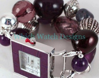 Plum Perfect.. Chunky Purple and Silver Interchangeable Beaded Watch Band