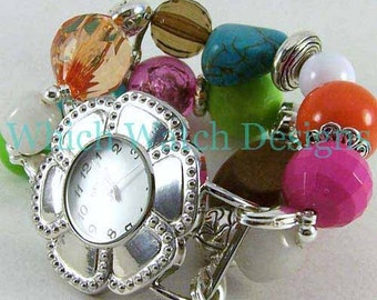 Sherbet.. Chunky Multi Colored Bright Interchangeable Beaded Watch Band, Pink, Green, Orange, Brown, White, Turquoise
