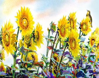 "Original Watercolor Painting Sunflower Art ""Sunflower Lark"" 14 x 20"""