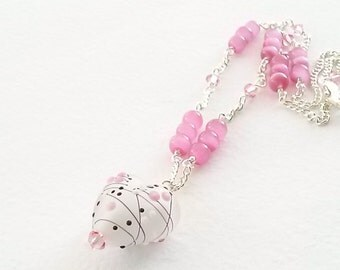 Heart Necklace Pink Abstract Design with Cat Eye Beads and Swarovski Crystal on Silver Chain