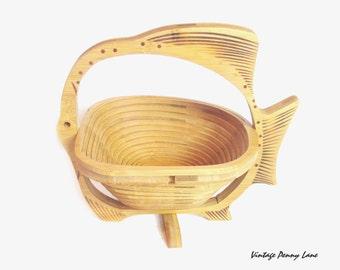 Vintage Folk Art Basket, Handmade Wood Fish
