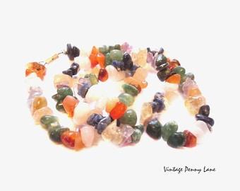 Vintage Necklace, Mixed Gemstone Beads