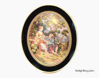 Vintage Needlepoint  Art, Black Velvet, Convex Glass