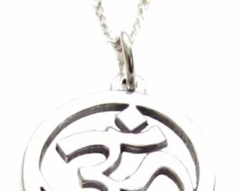 """OM Ohm Sanskrit Yoga Symbol Sterling Silver Necklace, 18"""", 24"""" or 30"""", Yoga Inspired Jewelry Gift"""