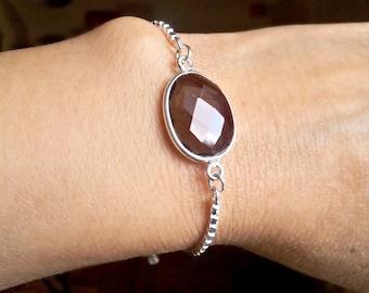 Smokey Quartz Adjustable Sterling Chain Bracelet Minimalist Jewelry  Sterling Silver Delicate Handmade Jewelry
