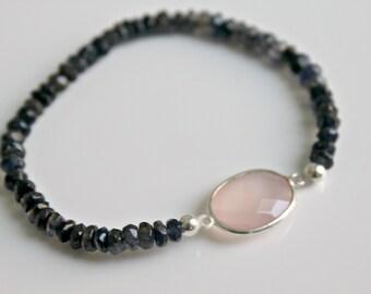 Healing Bracelet Rose Quartz Black Spinel Stacking Bracelet Gemstone Bracelet Sterling Silver Elastic Stacking Bracelets