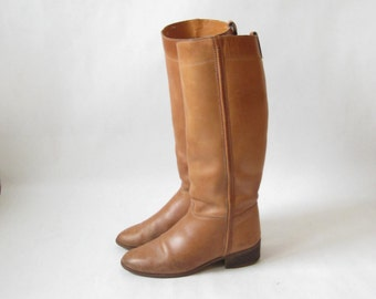 Vintage 70s  Brown Leather Tall Campus Boots. Size 7 1/2